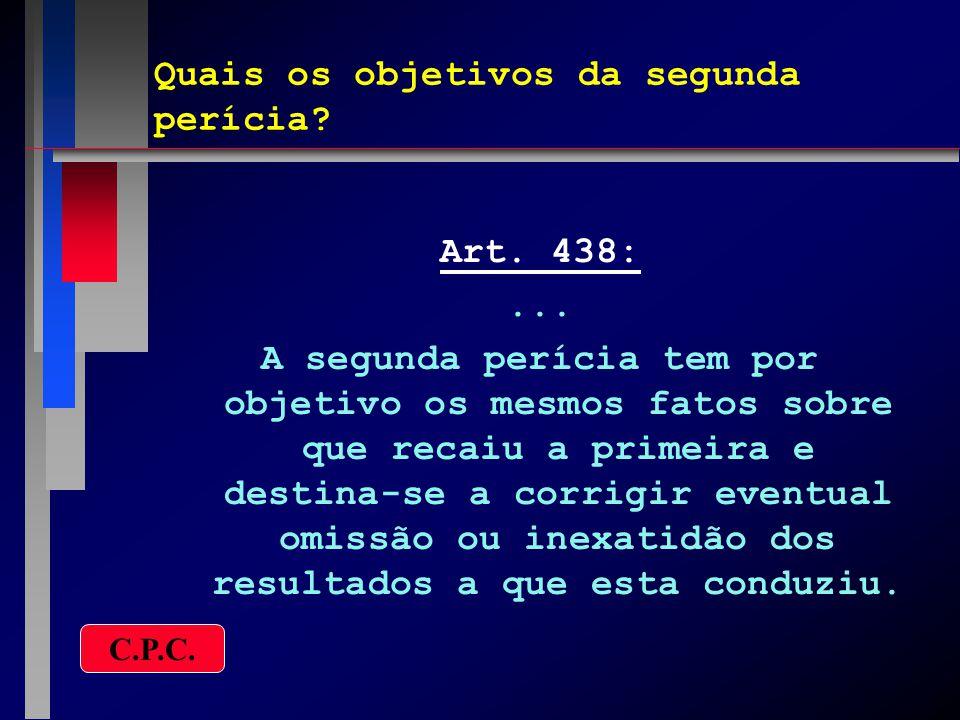 A segunda perícia torna nula a anterior.Art. 439:...