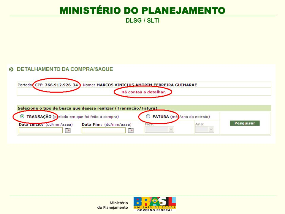 MINISTÉRIO DO PLANEJAMENTO DLSG / SLTI
