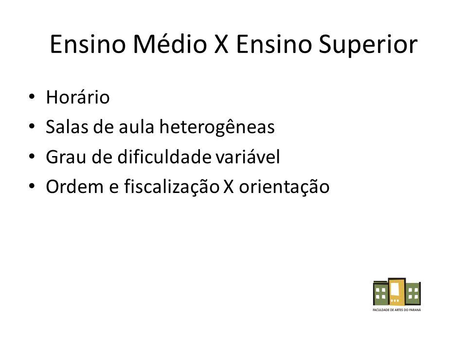 Ensino Médio X Ensino Superior Horário Salas de aula heterogêneas Grau de dificuldade variável Ordem e fiscalização X orientação