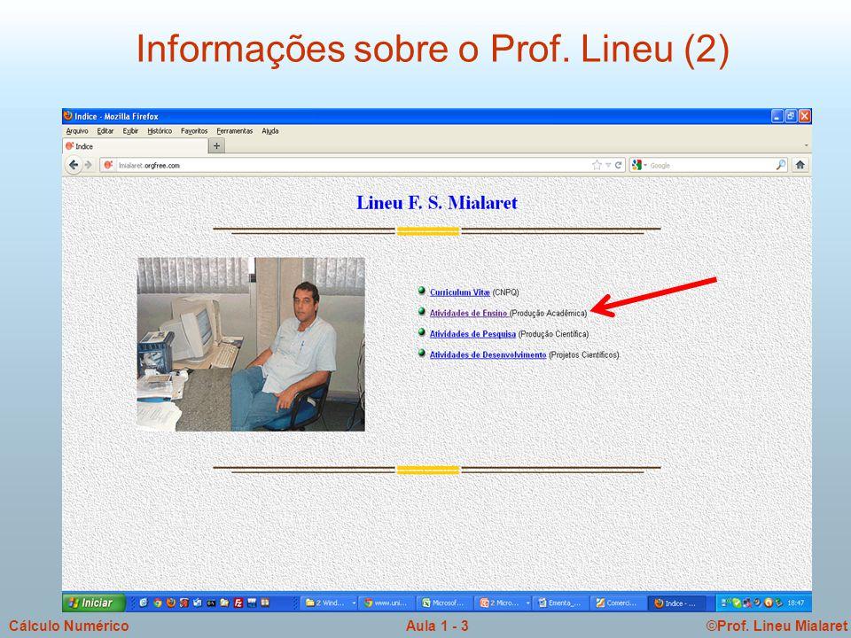 ©Prof. Lineu MialaretAula 1 - 4Cálculo Numérico Informações sobre o Prof. Lineu (3)