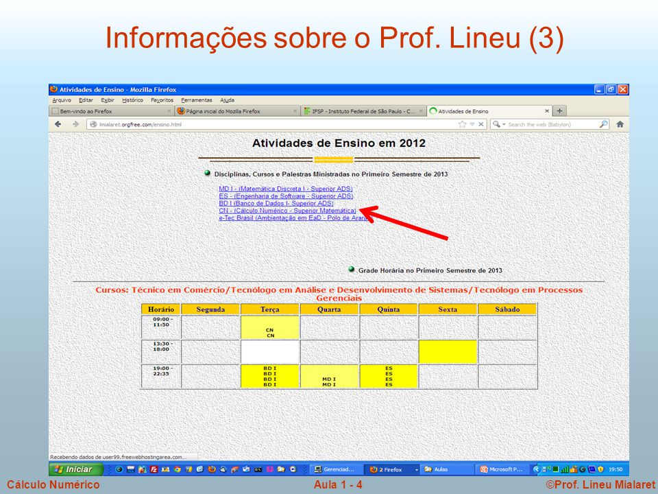 ©Prof. Lineu MialaretAula 1 - 5Cálculo Numérico Informações sobre o Prof. Lineu (4)