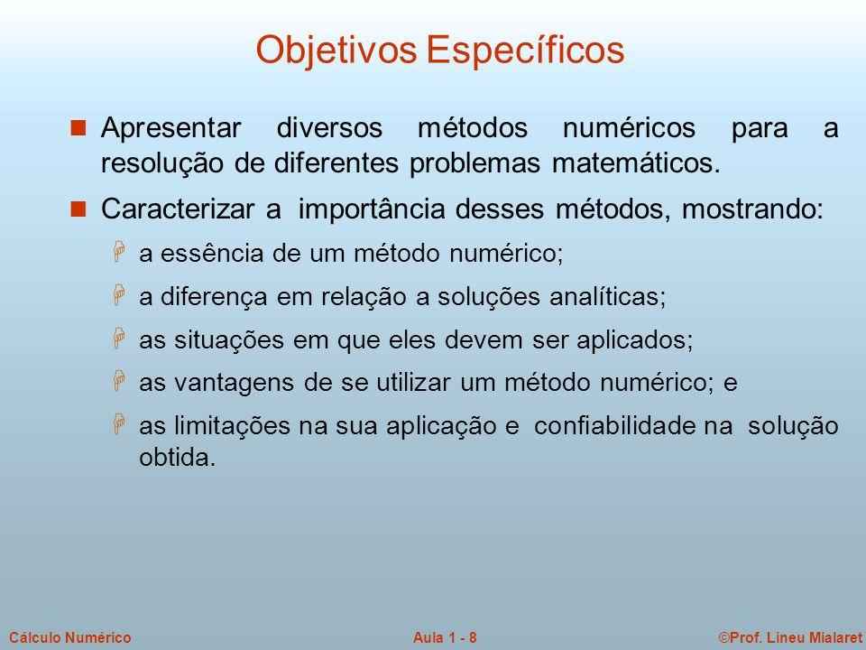©Prof.Lineu MialaretAula 1 - 9Cálculo Numérico Requisitos para CN n Vontade de aprender.