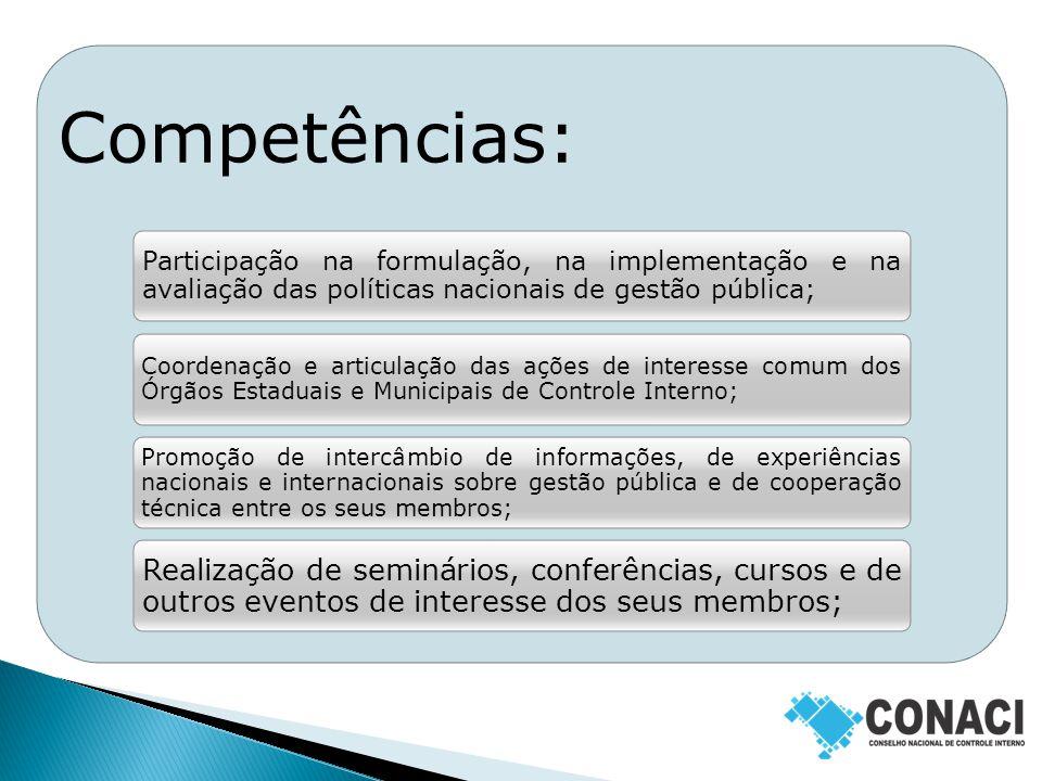 Competências: Desenvolvimento de programas e projetos de interesse comum dos seus membros.