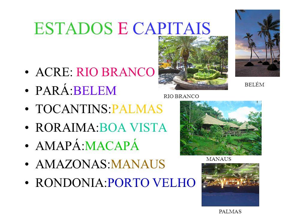 ESTADOS E CAPITAIS ACRE: RIO BRANCO PARÁ:BELEM TOCANTINS:PALMAS RORAIMA:BOA VISTA AMAPÁ:MACAPÁ AMAZONAS:MANAUS RONDONIA:PORTO VELHO PALMAS BELÉM RIO BRANCO MANAUS