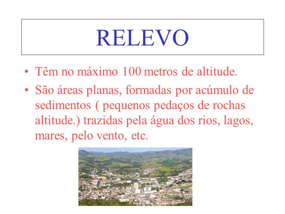 RELEVO Têm no máximo 100 metros de altitude.