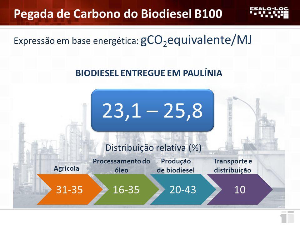 BIODIESEL ENTREGUE EM PORTO DA UNIÃO EUROPEIA Pegada de Carbono do Biodiesel B100