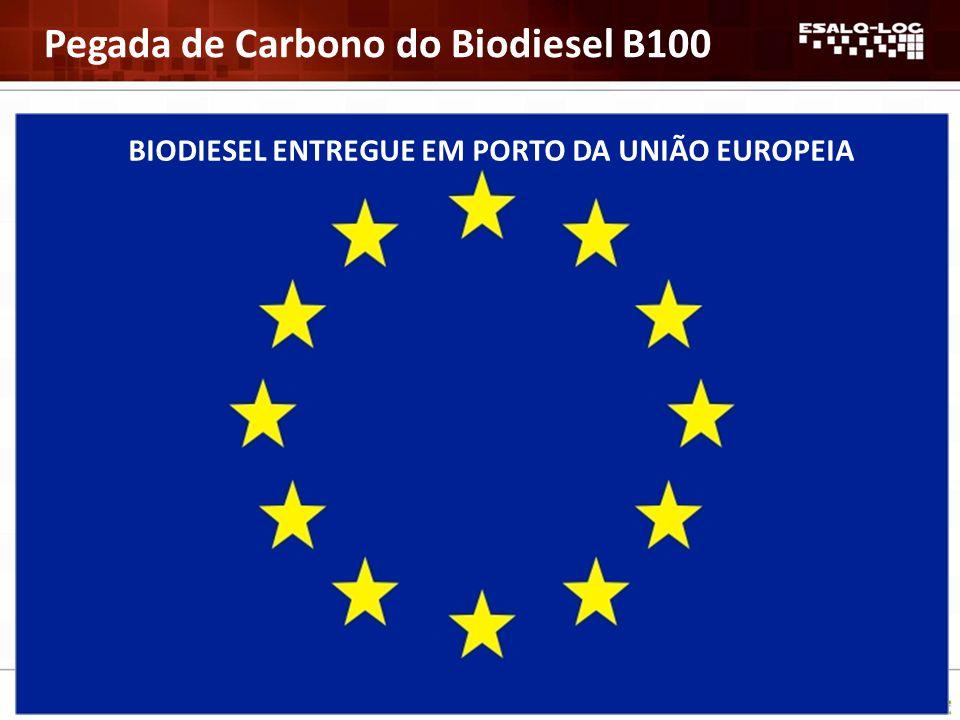 Expressão em base energética: gCO 2 equivalente/MJ 26,5 – 29,2 Distribuição relativa (%) 27-30 Agrícola 14-31 Processamento do óleo 17-38 Produção de biodiesel 21-22 Transporte e distribuição BIODIESEL ENTREGUE EM PORTO DA UNIÃO EUROPEIA Pegada de Carbono do Biodiesel B100