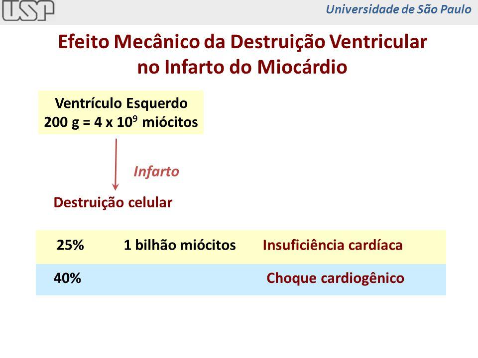 Regeneração Cardíaca Verdadeira Restauração 1 x 10 9 miócitos Inserção nos sítios adequados Junção eletromecânica Contração síncrona com o restante do miocárdio Universidade de São Paulo