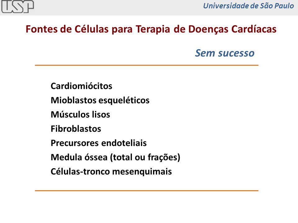 Fontes de Células para Terapia de Doenças Cardíacas Perspectivas Progenitores miocárdicos residentes Células-tronco embrionárias Injeção de fatores de crescimento Transplante de células modificadas (terapia gênica) iPS com diferenciação cardíaca Universidade de São Paulo