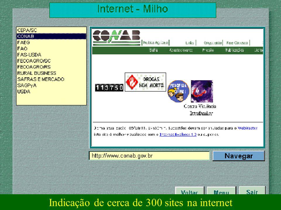 Indicação de cerca de 300 sites na internet