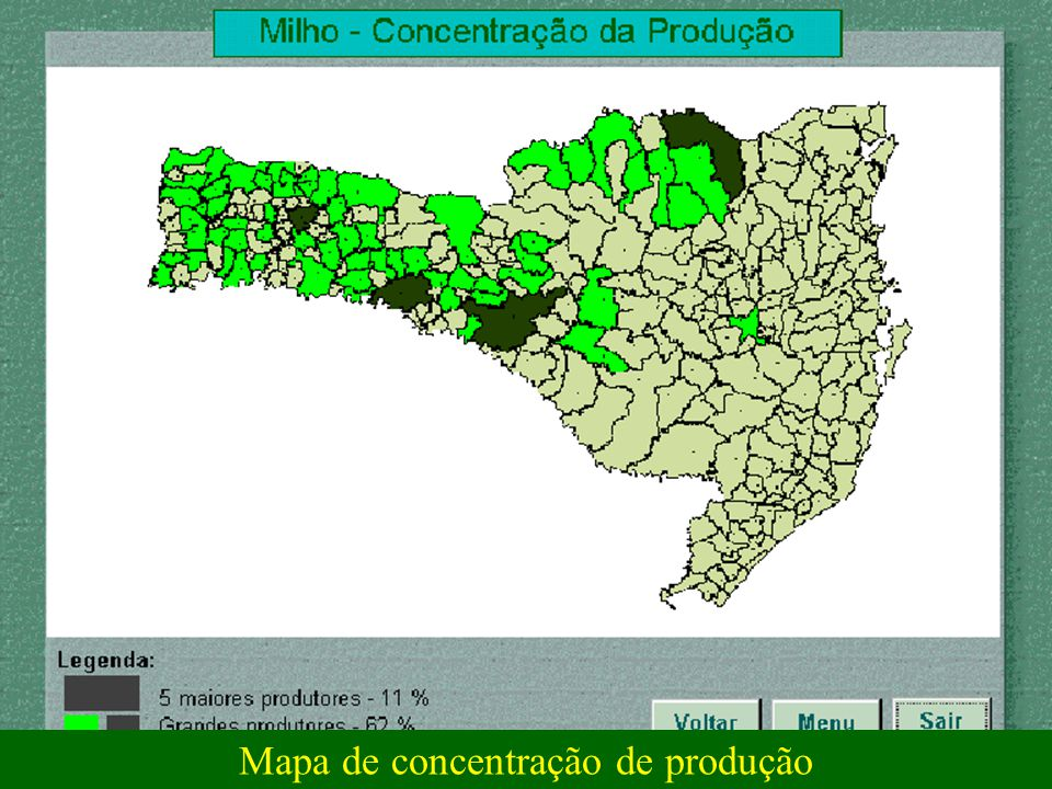 Mapa de concentração de produção