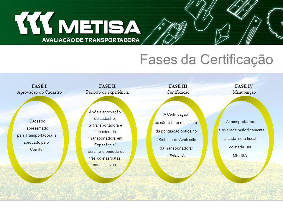AVALIAÇÃO DE FORNECEDOR Certificado A METISA - METALÚRGICA TIMBOENSE S.A confere a este certificado de fornecedor qualificado na prestação de serviços de transporte pelo desempenho apresentado no período de à atendendo aos critérios estabelecidos.