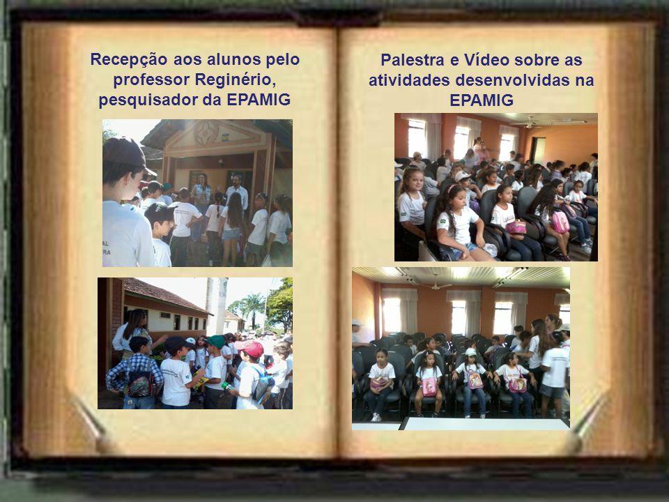 Recepção aos alunos pelo professor Reginério, pesquisador da EPAMIG Palestra e Vídeo sobre as atividades desenvolvidas na EPAMIG
