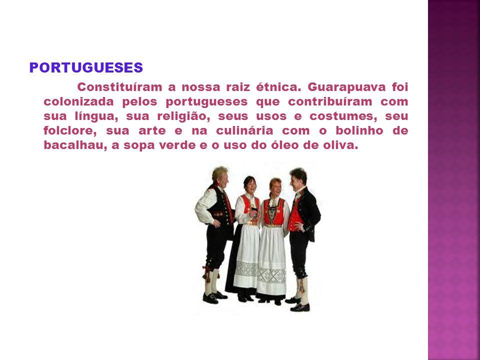AFRICANOS Vieram com os portugueses e contribuíram com a mão de obra para o trabalho, artesanato, no vocabulário,na música(canções de ninar), na dança(a capoeira), na religião e na culinária( feijoada, cocada, pé de moleque).