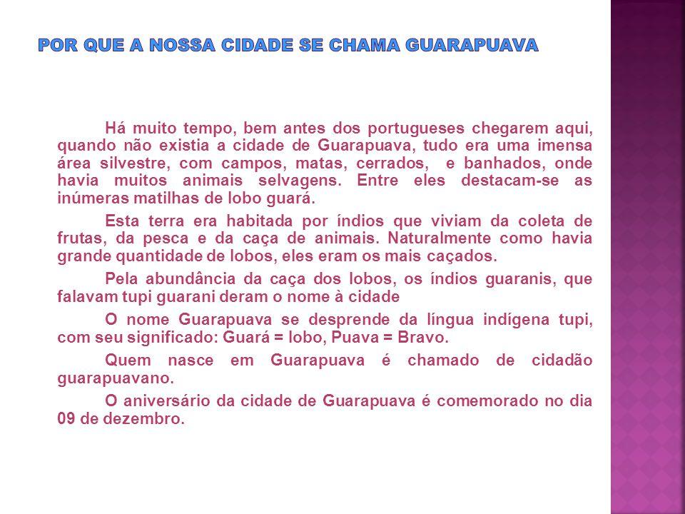 Guarapuava teve vários nomes, entre ele:  Província de Vera  Campos de Guarapuava  Terra do Cacique Guairacá,  Terra do Visconde de Guarapuava  Freguesia de Nossa Senhora de Belém  Povoado do Atalaia, Vila de Guarapuava  Sertões do Tibagi  Sertões do Paiquerê  Vila de Guarapuava Somente a partir de 12 de abril de 1871, através da lei provincial nº 227, foi denominada Cidade de Guarapuava.