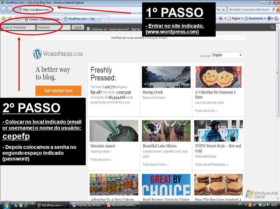 3º PASSO - Entramos na página inicial do wordpress.
