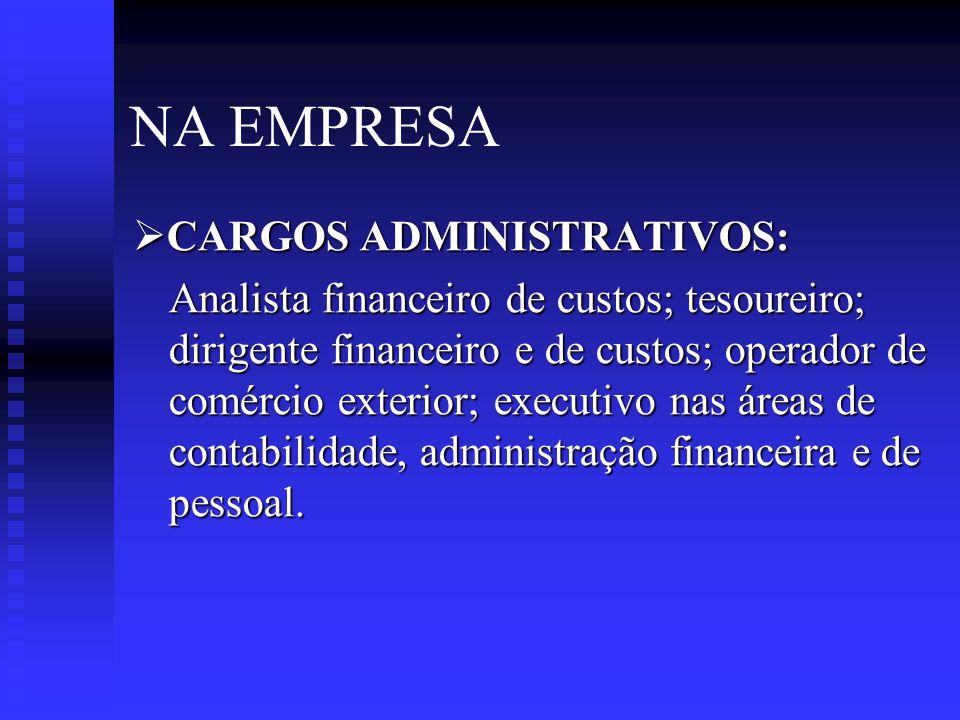 NA EMPRESA  AUDITOR INTERNO: Auditor de custos e sistemas operacionais; fiscal e tributário; de gestão administrativa e financeira; de controle orçamentário; de fraudes financeiras e documentais.