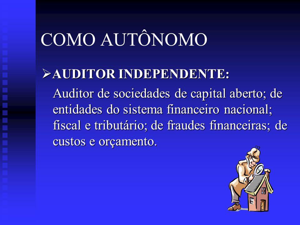 COMO AUTÔNOMO  CONSULTOR: Consultor na avaliação de empresas; de planejamento tributário e fiscal; de custos para fins de planejamento; de planejamento estratégico e orçamentário.