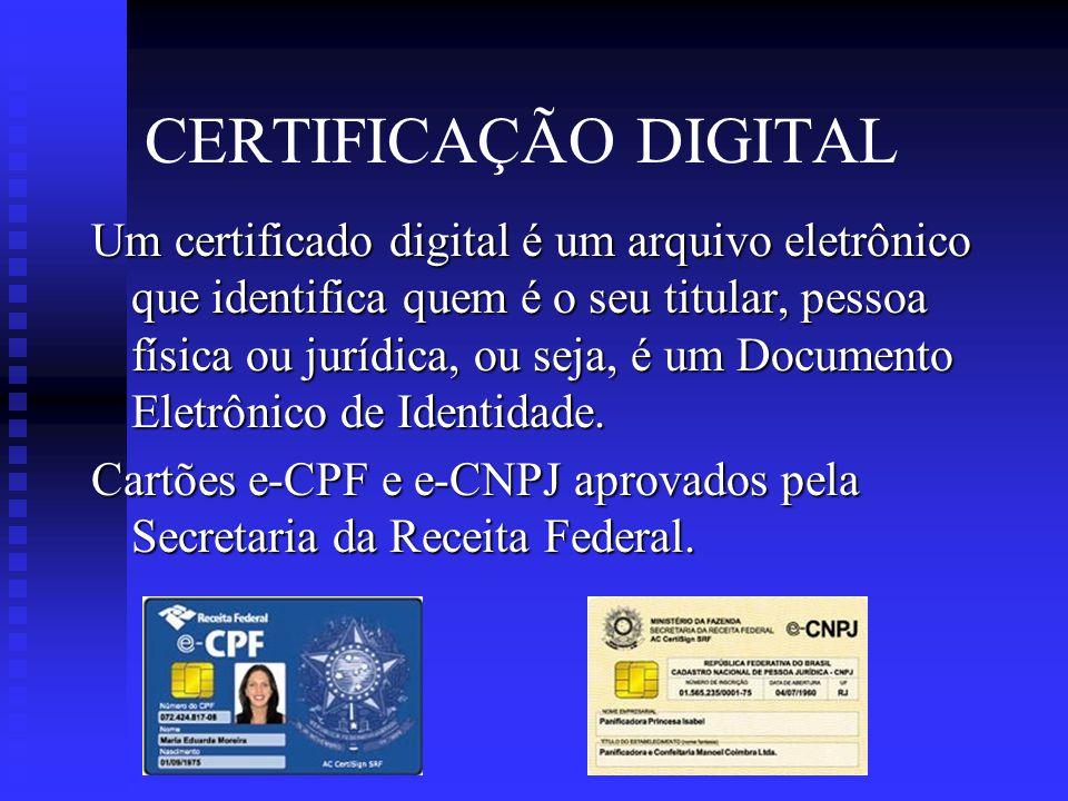 CERTIFICAÇÃO DIGITAL A Certificação Digital, utilizada nas transações eletrônicas garante:  Privacidade nas transações  Integridade das mensagens  Autenticidade  Assinatura Digital  Não-repúdio (não poderá ser negada pela parte que a utilizou)