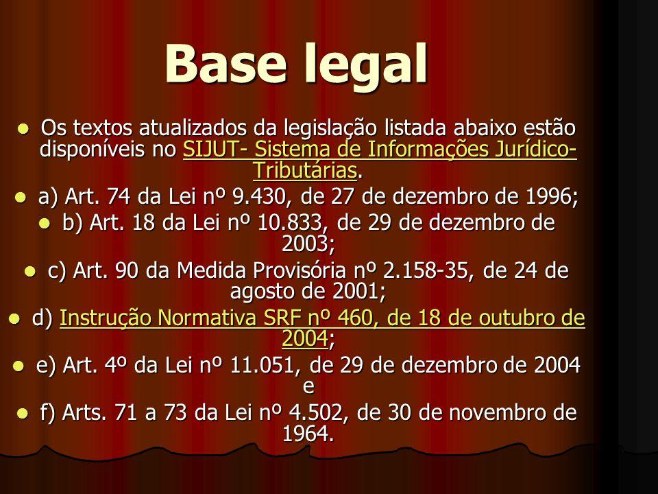 Base legal  Os textos atualizados da legislação listada abaixo estão disponíveis no SIJUT- Sistema de Informações Jurídico- Tributárias.