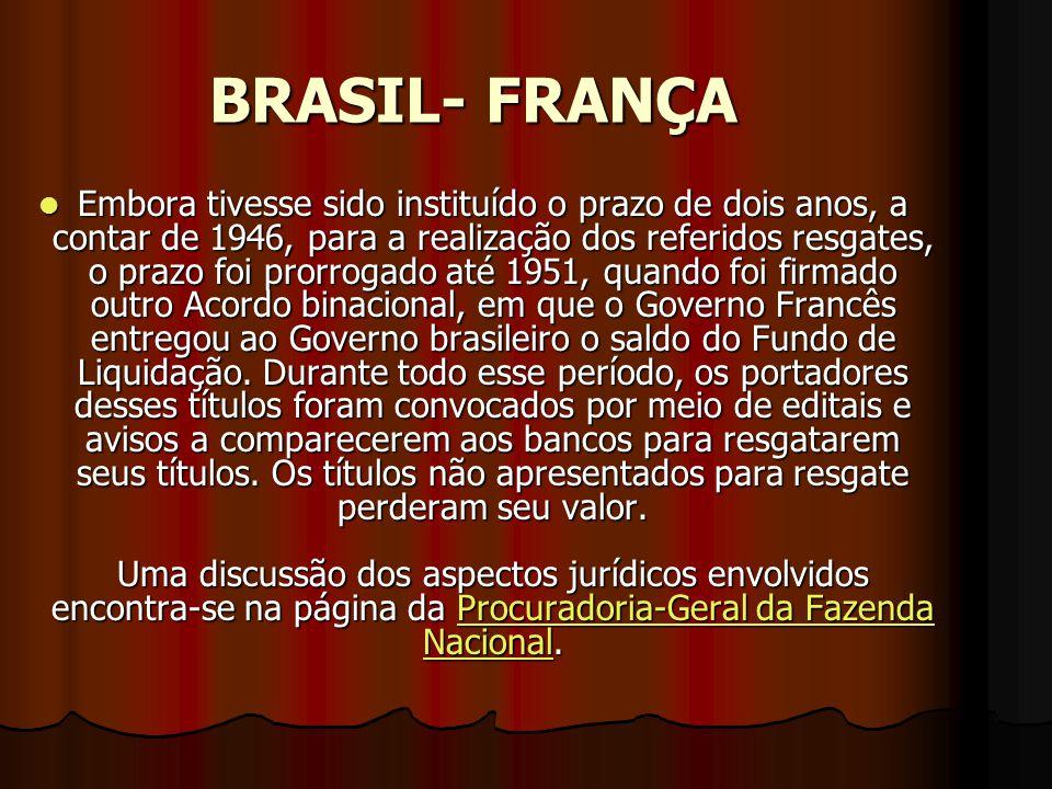 BRASIL- FRANÇA EEEEmbora tivesse sido instituído o prazo de dois anos, a contar de 1946, para a realização dos referidos resgates, o prazo foi prorrogado até 1951, quando foi firmado outro Acordo binacional, em que o Governo Francês entregou ao Governo brasileiro o saldo do Fundo de Liquidação.