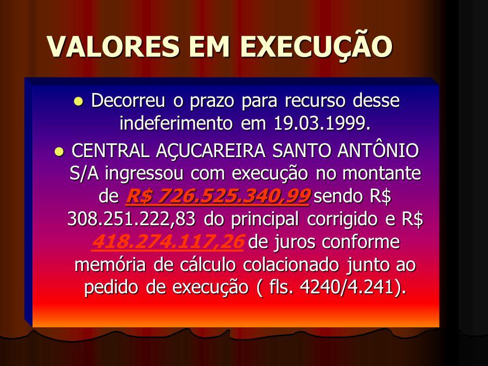 VALORES EM EXECUÇÃO DDDDecorreu o prazo para recurso desse indeferimento em 19.03.1999.