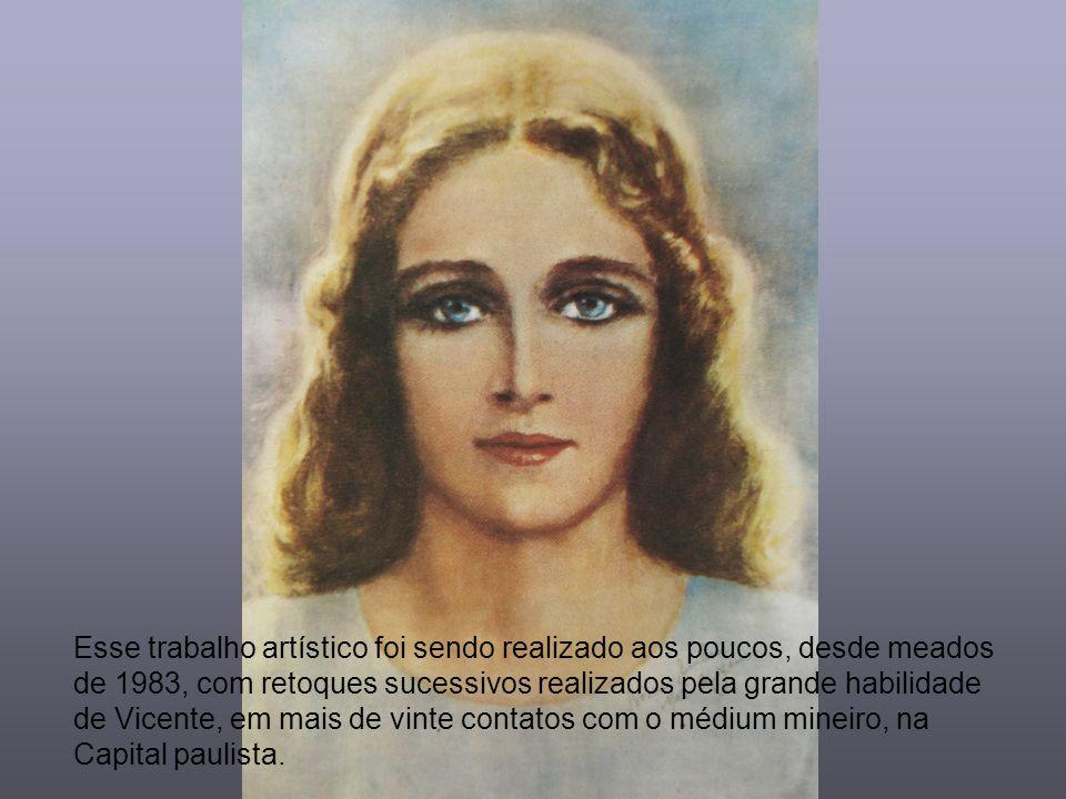 Esse trabalho artístico foi sendo realizado aos poucos, desde meados de 1983, com retoques sucessivos realizados pela grande habilidade de Vicente, em mais de vinte contatos com o médium mineiro, na Capital paulista.