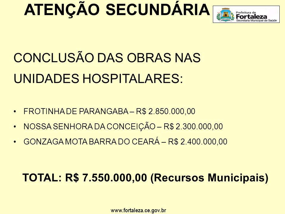 www.fortaleza.ce.gov.br ATENÇÃO SECUNDÁRIA CONSTRUÇÃO DE POLICLÍNICA: •POLICLÍNICA/HOSPITAL DA MULHER– R$ 3.500.000,00 *Em negociação com a Caixa Econômica Federal.