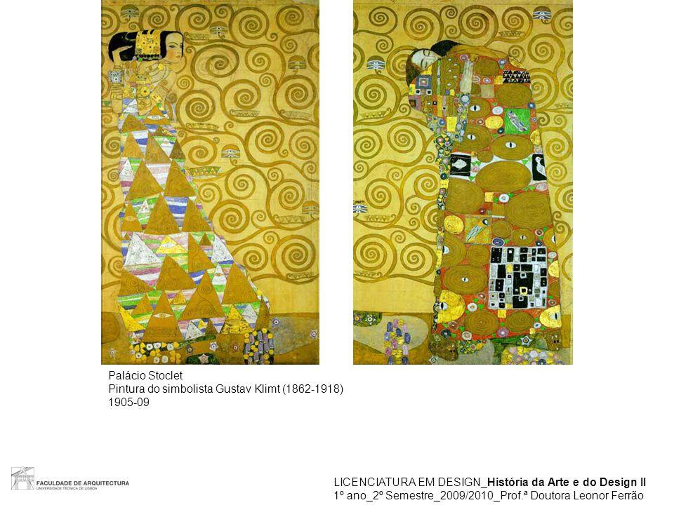 LICENCIATURA EM DESIGN_História da Arte e do Design II 1º ano_2º Semestre_2009/2010_Prof.ª Doutora Leonor Ferrão Placa da Wiener Werkstätte Sucursal em Nova Iorque 1922 Wiener Werkstätte foi uma empresa-comunidade de artistas Fundada em 1903(-1932) por Fritz Wärndorfer (1868-1939), inspirada no movimento Arts & Crafts Lema: É preferível manufacturar uma peça em 10 dias do que 10 peças num dia Artistas que desenharam para a Wiener Werkstätte: Josef Hoffmann, Koloman Moser, Dagobert Peche, Oskar Kokoschka, Gustav Klimt Registos artísticos: Arquitectura, Interiores, mobiliário, cerãmica, jóias, têxteis, metais, candeeiros, objectos em vidro, artes gráficas, obras de arte
