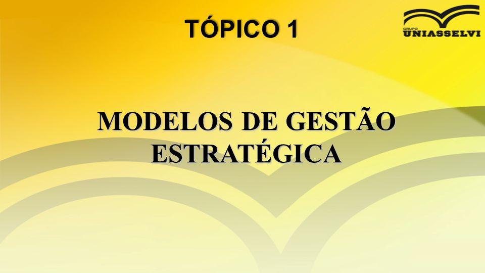 • Além dos tipos de estratégias que podemos utilizar para nos diferenciar das demais empresas de um modo a se destacar no mercado, devemos de nos ater aos modelos de gestão estratégica aplicáveis em nossa organização.