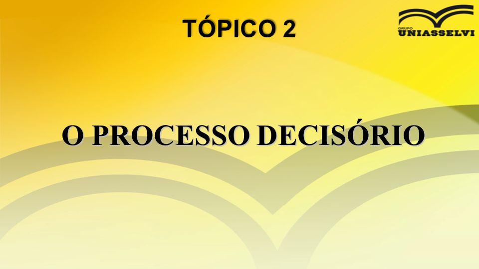 • A necessidade de tomada de decisão surge quando se tem um problema.