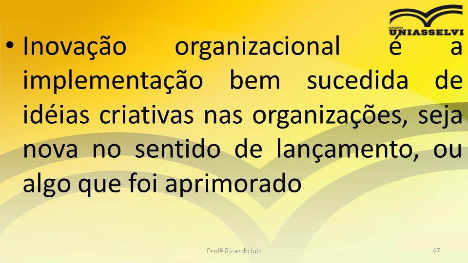 • Quanto mais criatividade útil se tem, mais inovação irá se gerar na organização, podendo utilizar esse fator para se tornar mais competitiva no mercado em que está inserida.