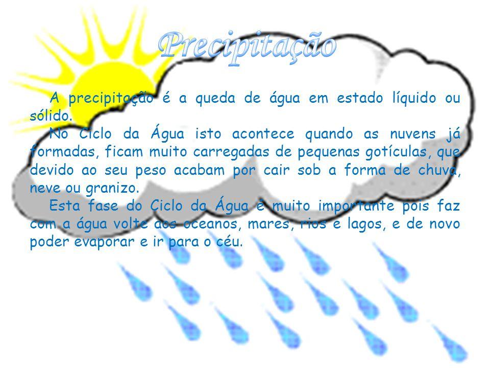 A precipitação é a queda de água em estado líquido ou sólido.