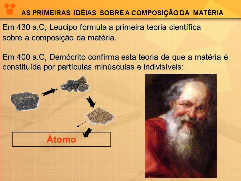 Modelo proposto por Demócrito: Toda a matéria é constituída por átomos e vazio; O átomo é uma partícula pequeníssima, invisível e que não pode ser dividida; Os átomos encontram-se em constante movimento; Universo constituído por um número infinito de átomos, indivisíveis e eternos;