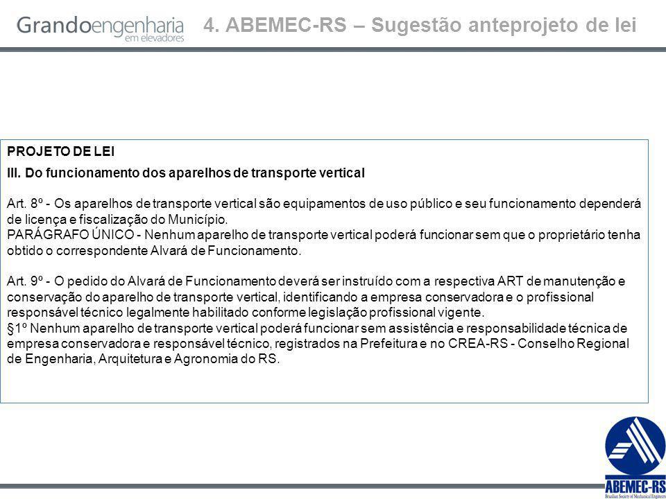 4.ABEMEC-RS – Sugestão anteprojeto de lei PROJETO DE LEI IV.
