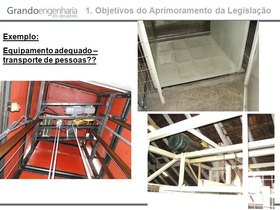 Exemplo: Elevador possui manutenção?? 1. Objetivos do Aprimoramento da Legislação