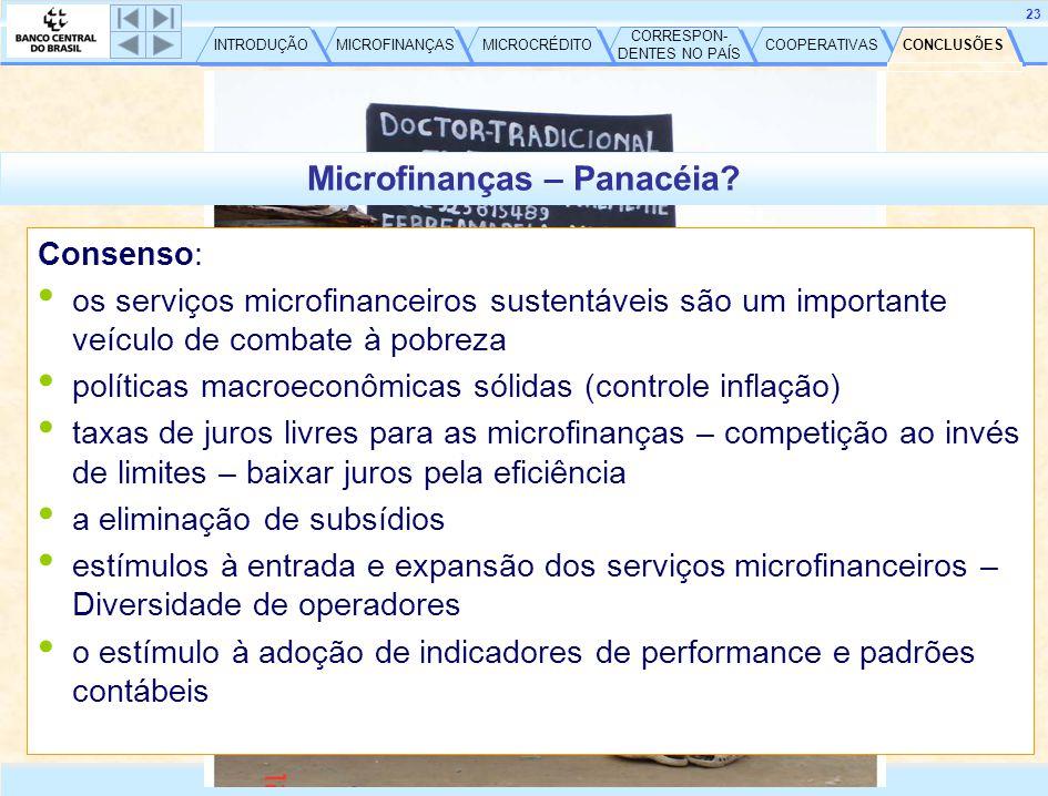 COOPERATIVAS CORRESPON- DENTES NO PAÍS CORRESPON- DENTES NO PAÍS MICROCRÉDITO MICROFINANÇAS INTRODUÇÃO 24 http://www.bcb.gov.br CONCLUSÕES