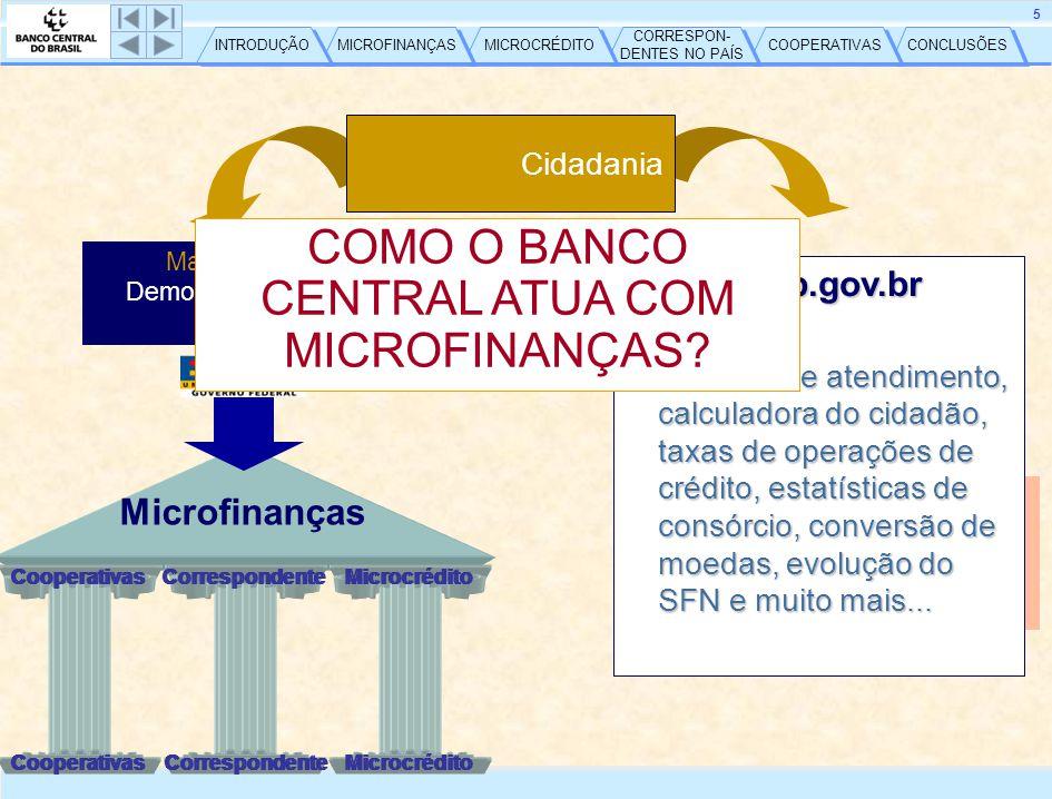 CONCLUSÕES COOPERATIVAS CORRESPON- DENTES NO PAÍS CORRESPON- DENTES NO PAÍS MICROCRÉDITO MICROFINANÇAS INTRODUÇÃO 6 Microfinanças – Mercado Brasileiro – Rendimento mensal (%) 1/ Inclusive pessoas que recebem apenas benefícios - Fonte: IBGE – PNAD2005 I.F.