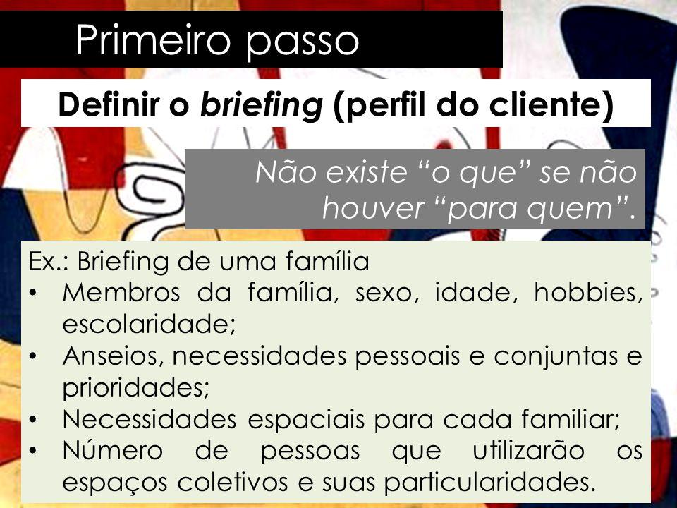 Primeiro passo Definir o briefing (perfil do cliente) • Conversas, entrevista, reflexão, observação e visita ao local acompanhado do cliente.