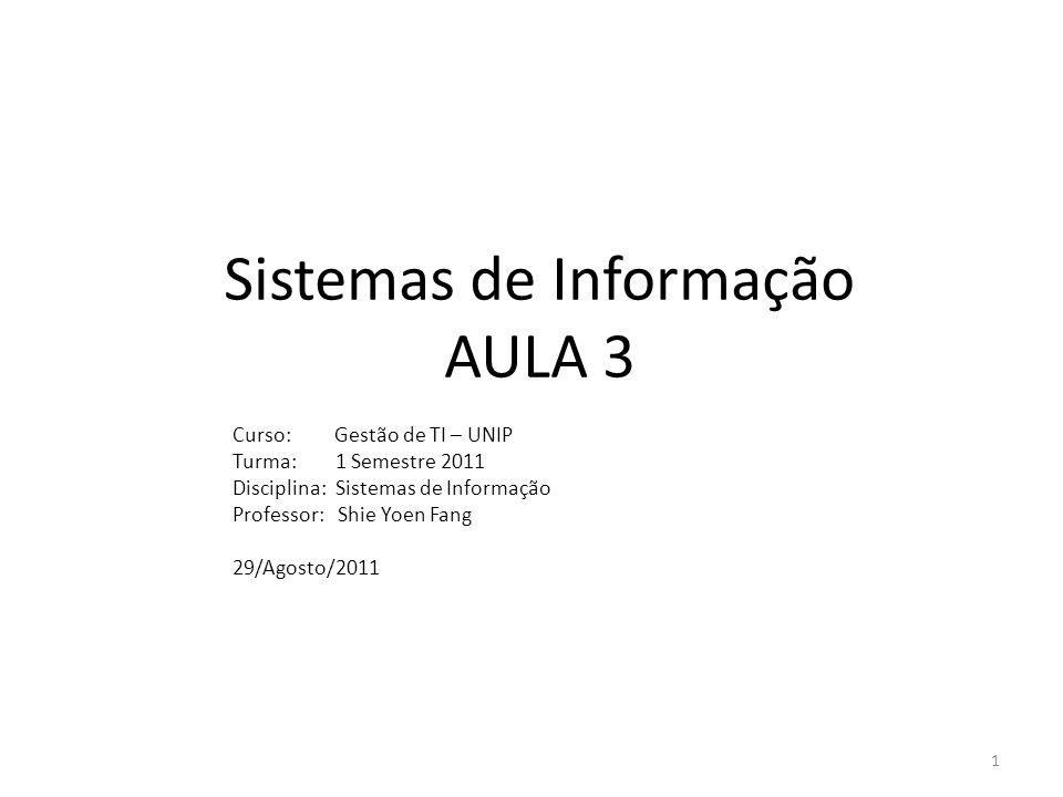 Plano Aula 3 -Qualidade da Informação -Funções básicas de uma empresa -Papéis fundamentais dos SIs -Análise do caso Continental Airlines -Gestão de TI vs Gestão de SI -Teoria Geral de Sistemas (TGS) 2