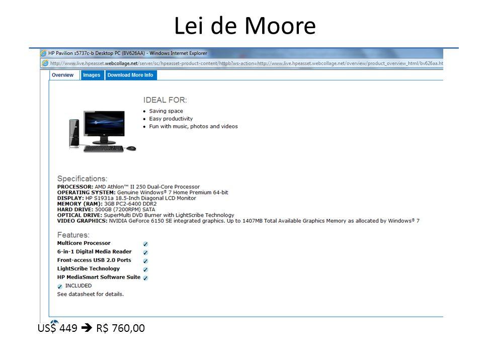 • A lei de Moore diz que A cada 18 a 24 meses é lançada uma nova tecnologia que permite que os computadores dupliquem o desempenho Lei de Moore US$ 84,00 => R$ 142,00 Obs: 2TB cabem 444 filmes ou 800.000 fotos de alta resolução (2,5 MB, 10 megapixels)!