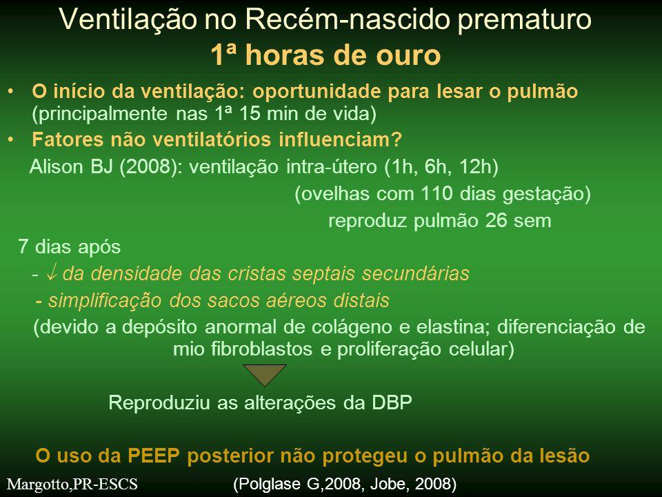 Neopuf ® x bolsa auto-inflável Bennett S et al (2005) -Grande variabilidade com bolsa (chegando até 50 cm H 2 O) CFR X Bolsa auto-inflável Resende JG et al (2006) -Grande variabilidade com a bolsa: 49% das vezes > 40 cmH 2 O; 67% das vezes < 20 cm H 2 O •CFR: 94% das vezes se obteve pressão pico de 30 cm H 2 O Microscopia pulmonar : Bolsa auto-inflável: ↑ áreas alveolares ↓ áreas parenquimatosas Ventilação no Recém-nascido prematuro 1ª horas de ouro Margotto,PR-ESCS X X X CFR Bolsa