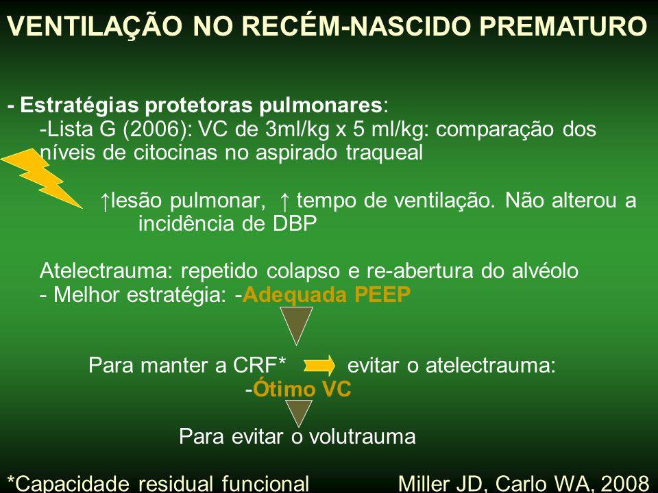 Miller JD, Carlo WA, 2008 VENTILAÇÃO NO RECÉM- NASCIDO PREMATURO ESTRATÉGIA PROTETORA PULMONAR Margotto,PR-ESCS