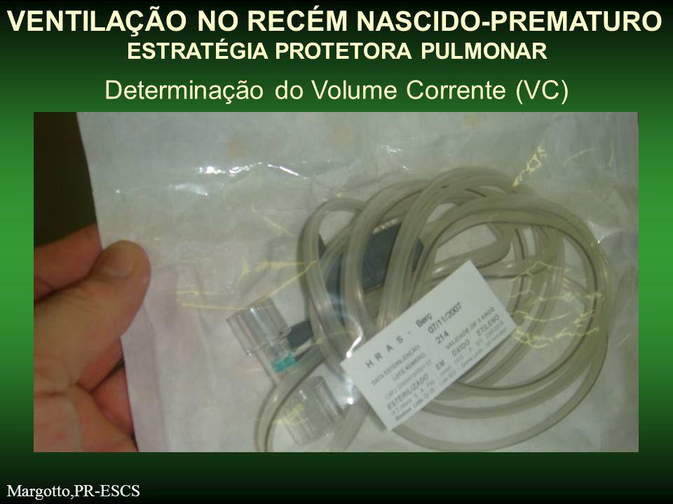 VENTILAÇÃO NO RECÉM NASCIDO-PREMATURO ESTRATÉGIA PROTETORA PULMONAR Determinação do Volume Corrente (VC) Margotto,PR-ESCS