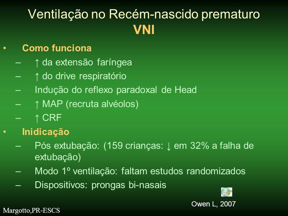 Contra-indicações potenciais •Anomalias congênitas na via aérea e pulmão •Deficiência de surfactante não tratada •Choque/hipovolemia/sepse •Doença abdominal/distensão •Canal arterial patente (hemodinâmicamente significativo) •Diminuição do drive respiratório (apnéia severa/sedação) •Trauma nasal Ventilação no Recém-nascido prematuro VNI Hutchison AA,Bignall S.
