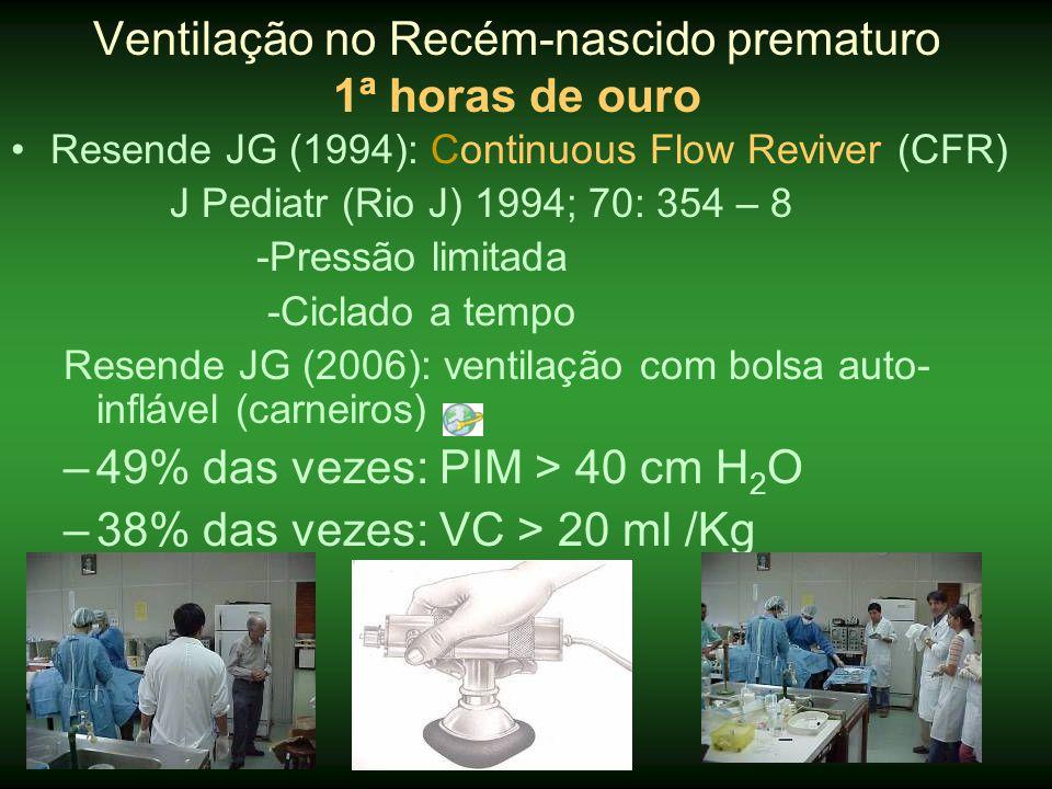 •Morley C (2008): 610 RN (25 – 28 sem) – 5 min •Morte ou DBP: (28 d): OR: 0,63 (0,46 – 0,88) 36 sem: OR 0,80 (0,58 – 1, 12) Menos dias em: -em VM (3 x 4 dias p< 0,001) -qualquer suporte ventilatório (21 x 26 d): p = 0,24 -suplemento de O 2 : (42 x 49 dias): p = 0,07 -internação hospitalar: (74 x 79 dias): p = 0,09 Ventilação no Recém-nascido prematuro 1ª horas de ouro Margotto,PR-ESCS