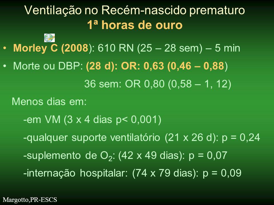 •Morley C et al (2008) –Mais pneumotórax 9,1% x 3,0% p = 0,001 Sem associação com adventos adversos (morte, HIV, DBP) Ventilação no Recém-nascido prematuro 1ª horas de ouro CPAP Nasal na Sala de Parto CPAP nasal -alternativa aceitável a intubação -Intubação: é difícil -O'Donnell, 2006 -excede o tempo recomendado