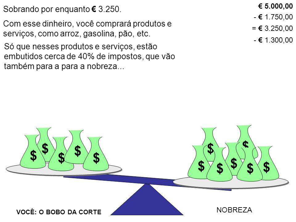$ $ VOCÊ: O BOBO DA CORTE NOBREZA $ $ $ $ $ $ $$ $ $ Até agora, dos € 5.000,00 que você suou a camisa para ganhar, sobraram apenas € 1.950.