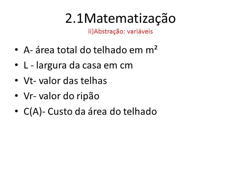 2.1Matematização ii)Abstração: formulação de modelos • Modelo 1: Quantidade de telhas de cada modelo para cobrir uma casa de A m².