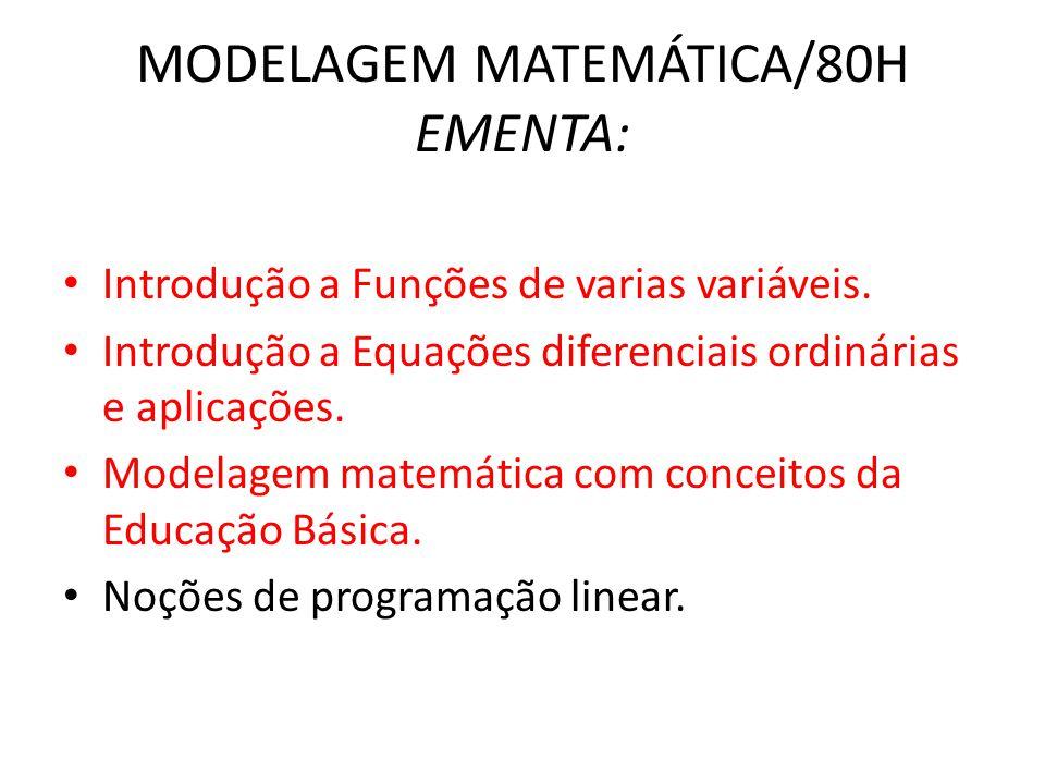 AVALIAÇÃO • 1 PROVAS (P1) DE 0 À 10 • 1 TRABALHO (T1) DE 0 À 10 • 1 PROJETO DE MODELAGEM MATEMÁTICA (PR) DE 0 À 10 MÉDIA M= P1+2.PR+T1 / 4 M≥6 APROVADO M<6 PROVA FINAL